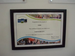 2012 renewal certificate at Council offices
