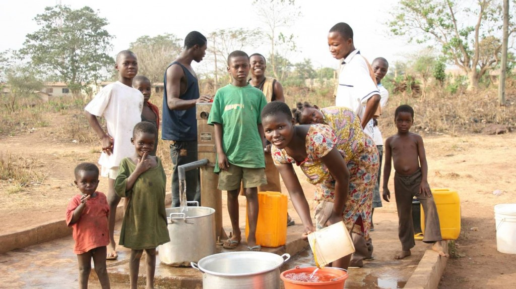 Borehole in Ghana paid for by the Fairtrade premium from sales of Divine chocolate